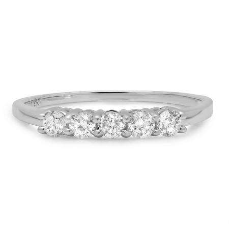 IGI CERTIFIED 0.45 Carat (ctw) 14K White Gold Round White Diamond Ladies 5 Stone Bridal Wedding Band Anniversary Ring 1/2 CT