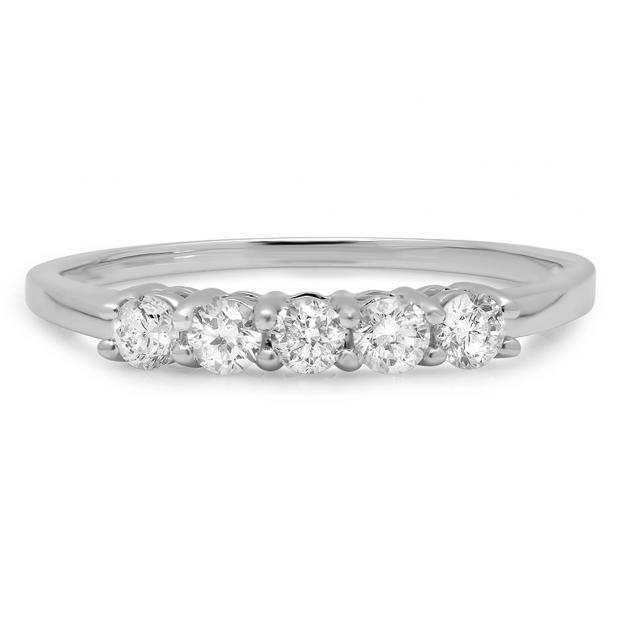 0.50 Carat (ctw) 14K White Gold Round White Diamond Ladies 5 Stone Bridal Wedding Band Anniversary Ring 1/2 CT