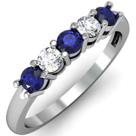 0.50 Carat (ctw) 18K White Gold Round Blue Sapphire and White Diamond Ladies 5 Stone Bridal Wedding Band Anniversary Ring 1/2 CT