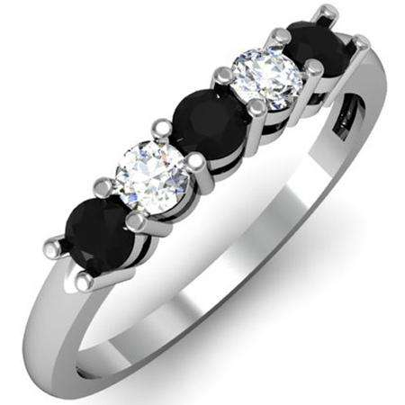 0.50 Carat (ctw) 18K White Gold Round Black and White Diamond Ladies 5 Stone Bridal Wedding Band Anniversary Ring 1/2 CT