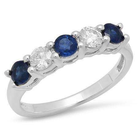 0.75 Carat (ctw) 14K White Gold Round Blue Sapphire and White Diamond Ladies 5 Stone Bridal Wedding Band Anniversary Ring 3/4 CT