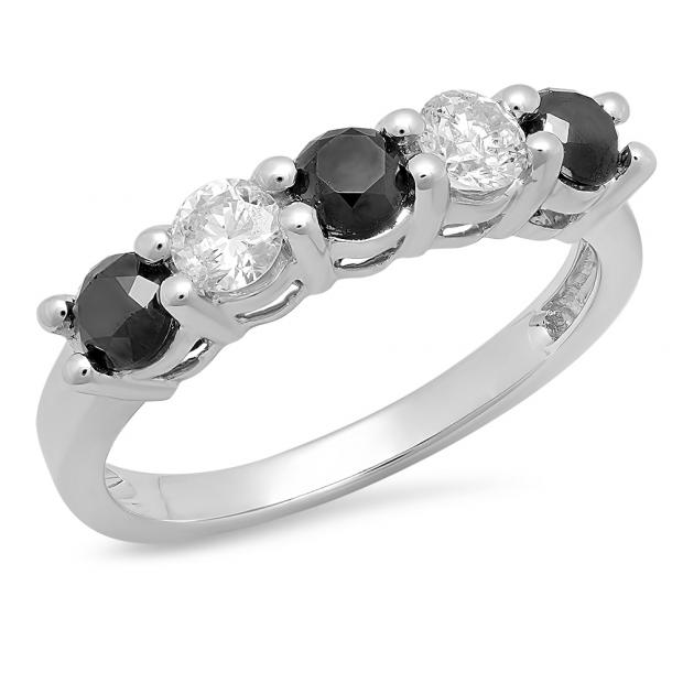 0.75 Carat (ctw) 18K White Gold Round Black and White Diamond Ladies 5 Stone Bridal Wedding Band Anniversary Ring 3/4 CT