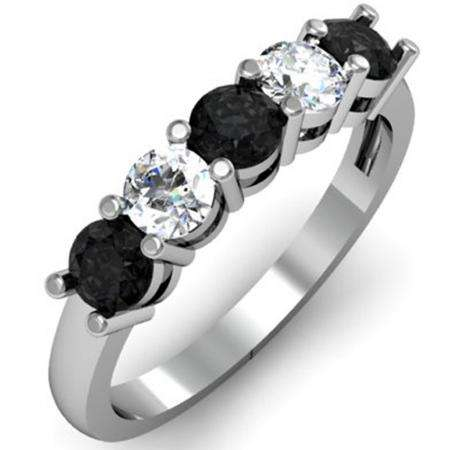 1.00 Carat (ctw) 18K White Gold Round Black and White Diamond Ladies 5 Stone Bridal Wedding Band Anniversary Ring 1 CT