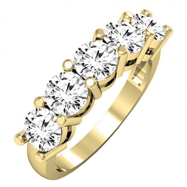 2.00 Carat (ctw) 14K Yellow Gold Round White Diamond Ladies 5 Stone Bridal Wedding Band Anniversary Ring 2 CT