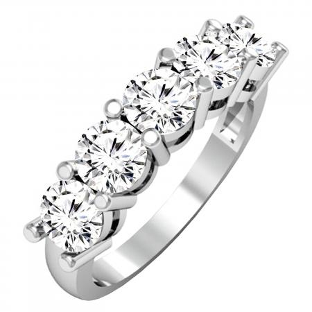 2.00 Carat (ctw) 18K White Gold Round White Diamond Ladies 5 Stone Bridal Wedding Band Anniversary Ring 2 CT