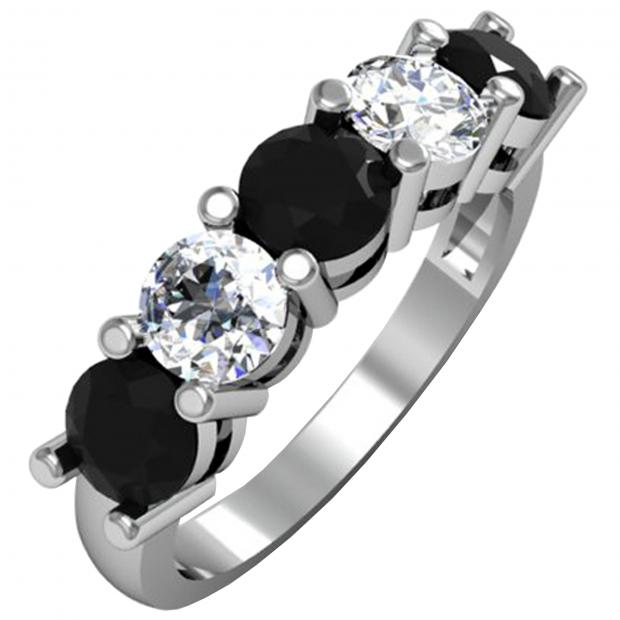 2.00 Carat (ctw) 18K White Gold Round Black and White Diamond Ladies 5 Stone Bridal Wedding Band Anniversary Ring 2 CT