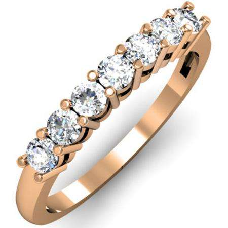 0.50 Carat (ctw) 14K Rose Gold Round White Diamond Ladies 7 Stone Bridal Wedding Band Anniversary Ring 1/2 CT