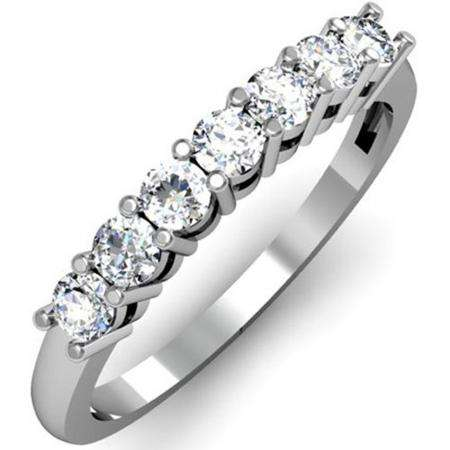 0.50 Carat (ctw) 14K White Gold Round White Diamond Ladies 7 Stone Bridal Wedding Band Anniversary Ring 1/2 CT
