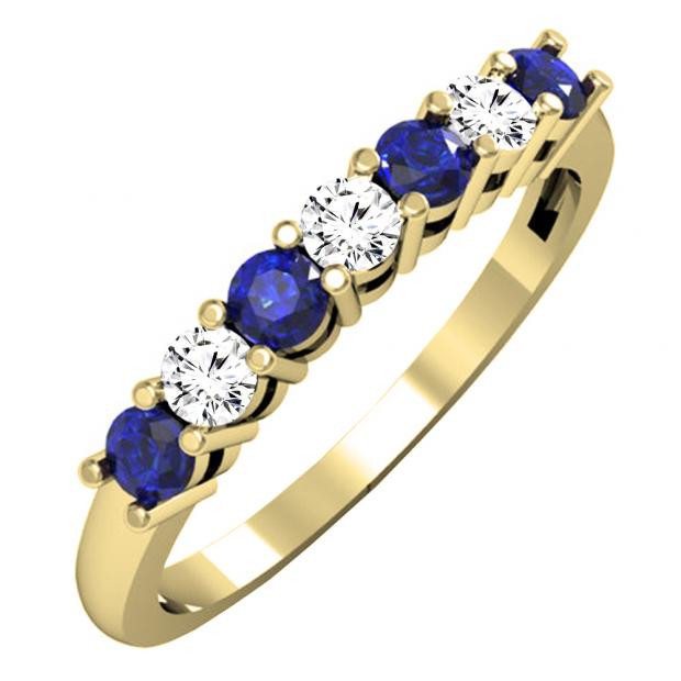 0.50 Carat (ctw) 10K Yellow Gold Round Blue Sapphire and White Diamond Ladies 7 Stone Bridal Wedding Band Anniversary Ring 1/2 CT