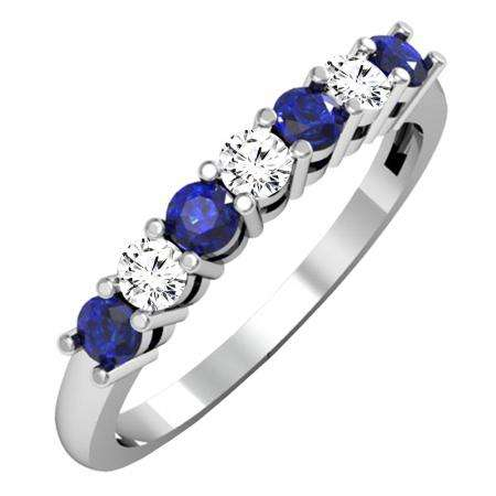 0.50 Carat (ctw) 18K White Gold Round Blue Sapphire and White Diamond Ladies 7 Stone Bridal Wedding Band Anniversary Ring 1/2 CT