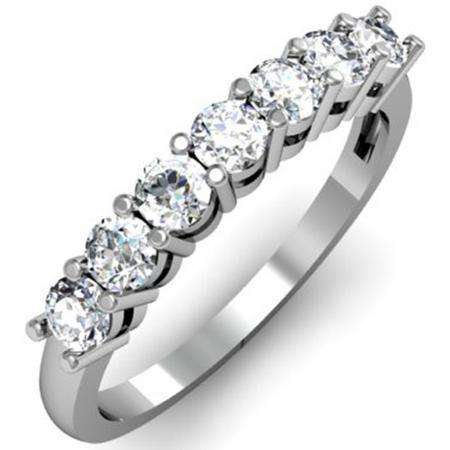 0.75 Carat (ctw) 18K White Gold Round White Diamond Ladies 7 Stone Bridal Wedding Band Anniversary Ring 3/4 CT