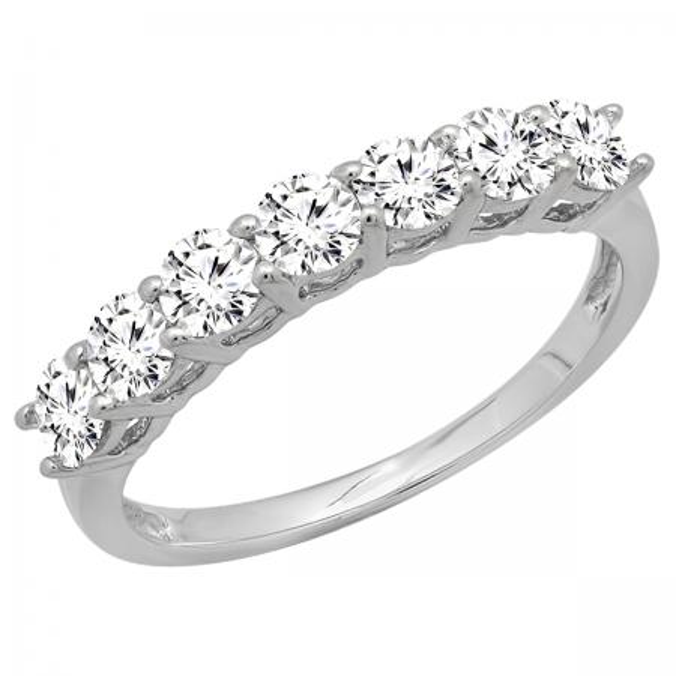 0.90 Carat (ctw) 10K White Gold Round White Diamond Ladies 7 Stone Bridal Wedding Band Anniversary Ring
