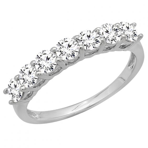 0.90 Carat (ctw) 18K White Gold Round White Diamond Ladies 7 Stone Bridal Wedding Band Anniversary Ring