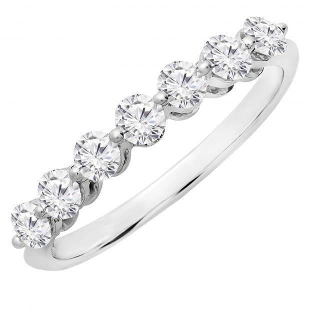 0.50 Carat (ctw) 10K White Gold Round White Diamond Ladies 7 Stone Bridal Wedding Band Anniversary Ring 1/2 CT