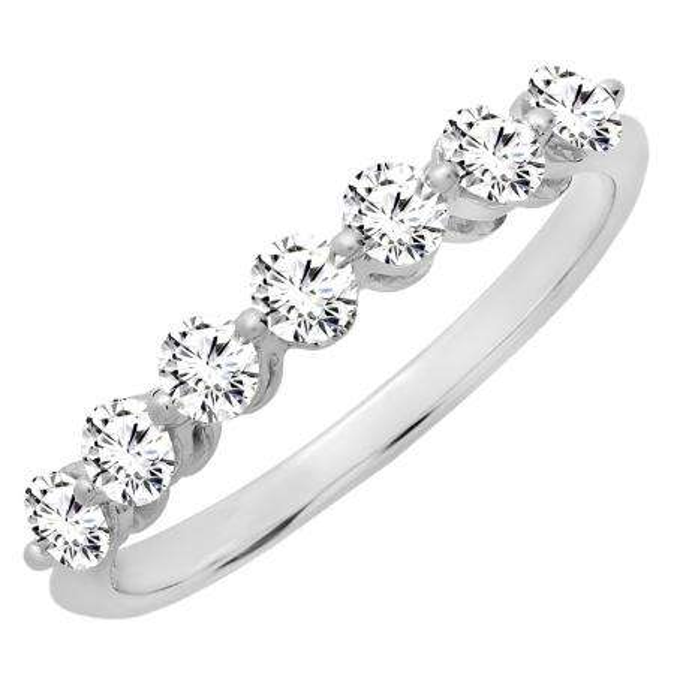 0.50 Carat (ctw) 14K White Gold Round White Diamond Ladies 7 Stone Bridal Wedding Band Anniversary Ring 1/2 CT