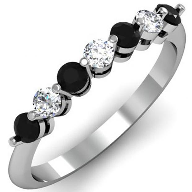 0.50 Carat (ctw) 18K White Gold Round Black and White Diamond Ladies 7 Stone Bridal Wedding Band Anniversary Ring 1/2 CT