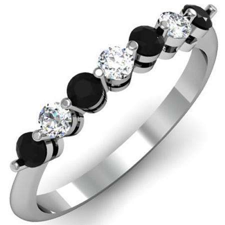 0.50 Carat (ctw) 14K White Gold Round Black and White Diamond Ladies 7 Stone Bridal Wedding Band Anniversary Ring 1/2 CT