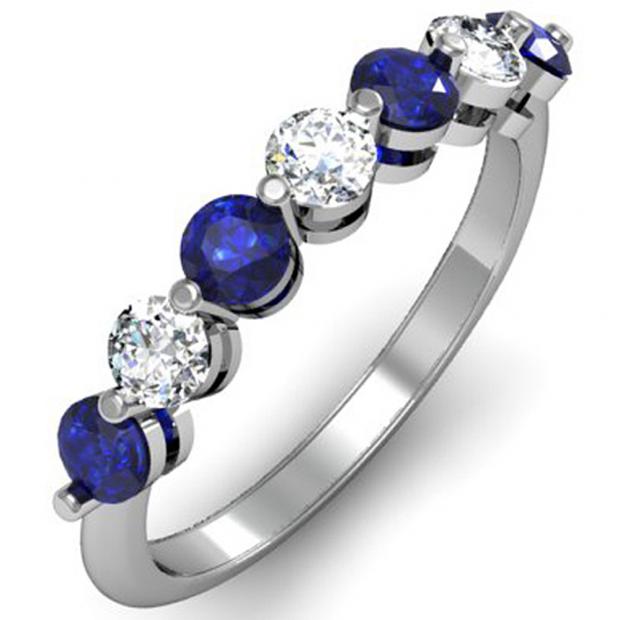 1.00 Carat (ctw) 14K White Gold Round Blue Sapphire and White Diamond Ladies 7 Stone Bridal Wedding Band Anniversary Ring 1 CT