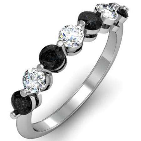 1.00 Carat (ctw) 14K White Gold Round Black and White Diamond Ladies 7 Stone Bridal Wedding Band Anniversary Ring 1 CT