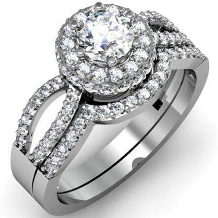 1.00 Carat (ctw) 14k White Gold Round Diamond Ladies Split Shank Halo Style Bridal Engagement Ring Set With Matching Band 1 CT