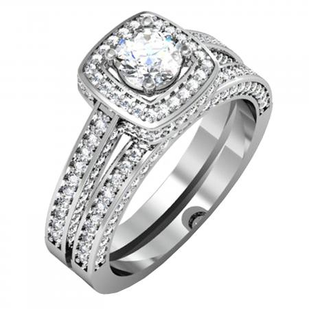 1.50 Carat (ctw) 14k White Gold Round Diamond Ladies Halo Style Bridal Engagement Ring Set Matching Band 1 1/2 CT