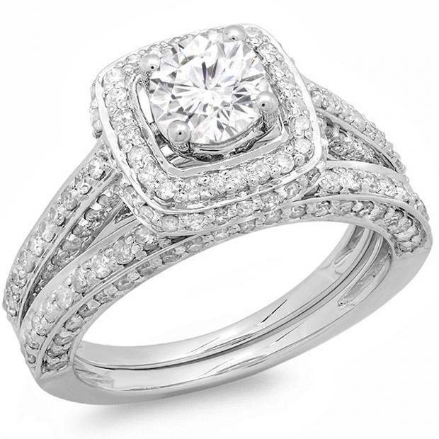 2.00 Carat (ctw) 14k White Gold Round Diamond Ladies Halo Style Bridal Engagement Ring Set Matching Band 2 CT