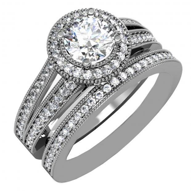 1.00 Carat (ctw) 14k White Gold Round Diamond Ladies Split Shank Halo Style Bridal Engagement Ring Set With Matching Band 1 CT