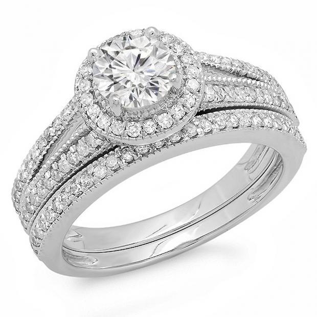 1.25 Carat (ctw) 10k White Gold Round Diamond Ladies Split Shank Halo Style Bridal Engagement Ring Set With Matching Band 1 1/4 CT