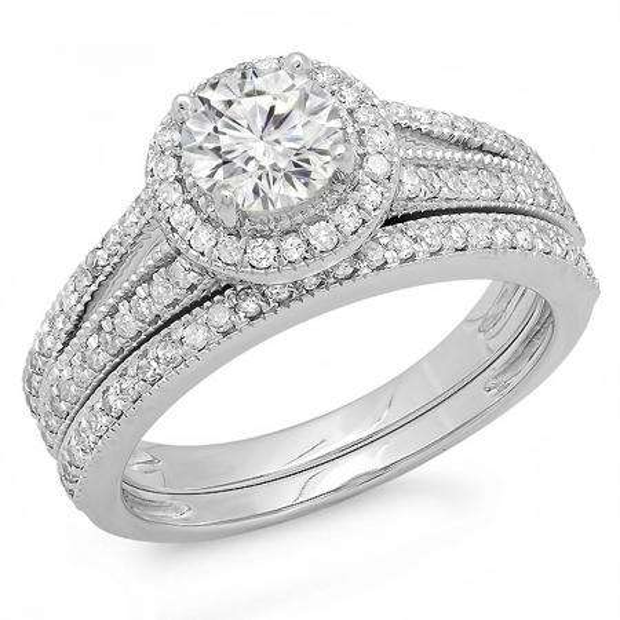 1.25 Carat (ctw) 14k White Gold Round Diamond Ladies Split Shank Halo Style Bridal Engagement Ring Set With Matching Band 1 1/4 CT