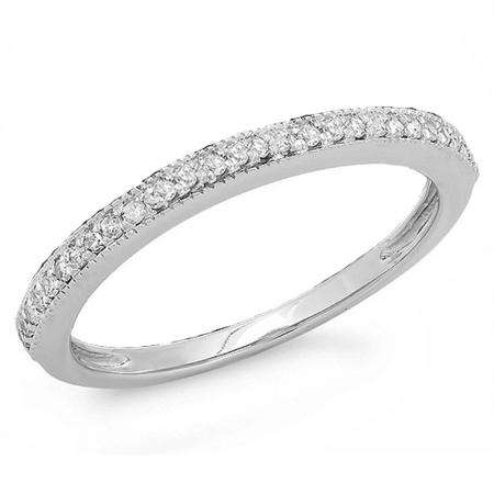 0.15 Carat (ctw) 10K White Gold Round Diamond Ladies Anniversary Wedding Band Stackable Ring