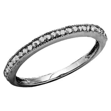0.15 Carat (ctw) Black Rhodium Plated 14K White Gold Round Diamond Ladies Anniversary Wedding Band Stackable Ring