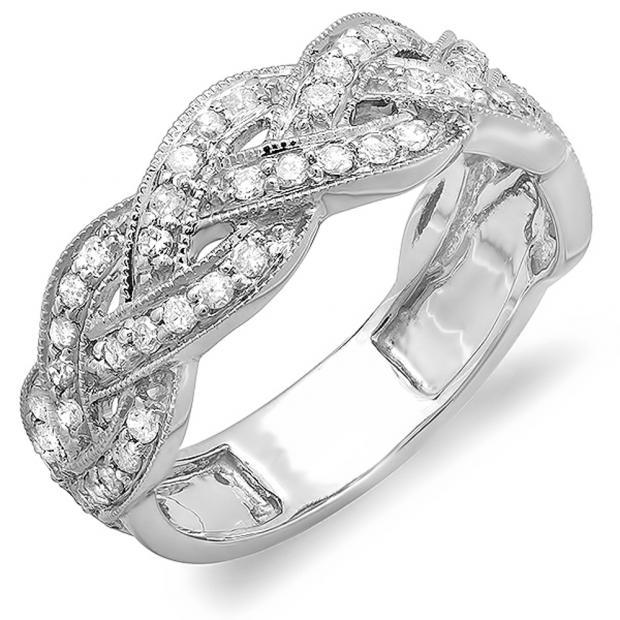 0.58 Carat (ctw) 10k White Gold Round Diamond Ladies Anniversary Wedding Matching Band Stackable Swirl Ring 1/2 CT