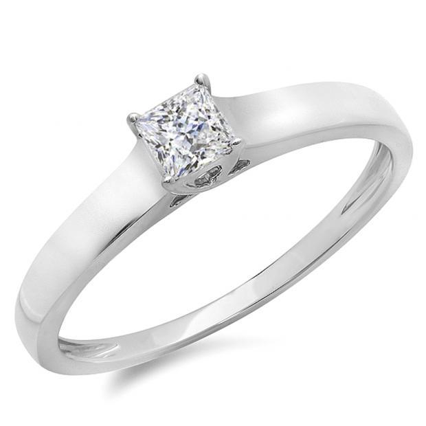 IGI CERTIFIED 0.25 Carat (ctw) 14K White Gold Princess Cut Diamond Ladies Lucida Style Solitaire Bridal Engagement Ring 1/4 CT