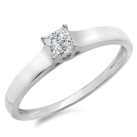 d93dd98b5 0.25 Carat (ctw) 14k White Gold Princess Cut Diamond Ladies Lucida Style  Solitaire Bridal Engagement Ring 1/4 CT