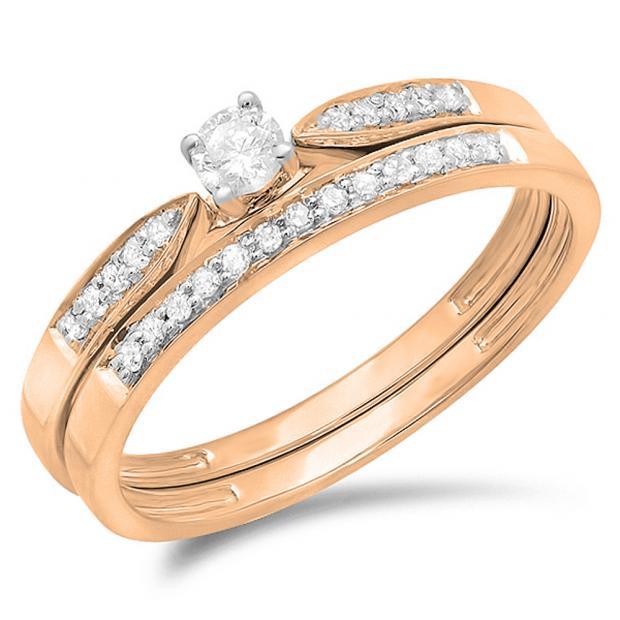 0.25 Carat (ctw) 10K Rose Gold Round Diamond Ladies Bridal Engagement Ring Matching Band Wedding Set 1/4 CT