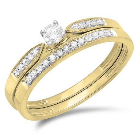 0.25 Carat (ctw) 10K Yellow Gold Round Diamond Ladies Bridal Engagement Ring Matching Band Wedding Set 1/4 CT