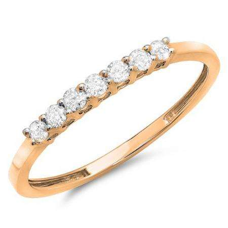 0.25 Carat (ctw) 10k Rose Gold Round Diamond Ladies 7 Stone Anniversary Wedding Band Stackable Ring 1/4 CT