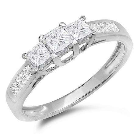 1.00 Carat (ctw) 10K White Gold Princess Cut Diamond Ladies 3 Stone Bridal Engagement Ring 1 CT