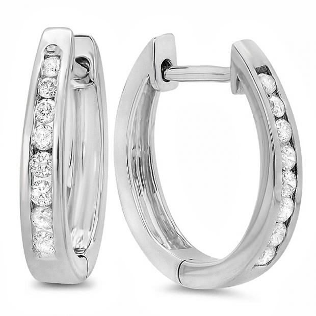 0.20 Carat (ctw) 10K White Gold Round Diamond Ladies Hoop Earrings 1/5 CT