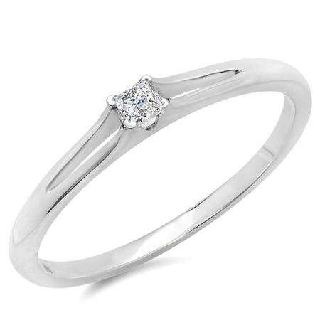 0.10 Carat (ctw) 10k White Gold Princess Cut Diamond Ladies Split Shank Solitaire Bridal Promise Ring 1/10 CT