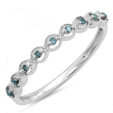 0.20 Carat (ctw) Sterling Silver Round Blue Diamond Ladies Anniversary Wedding Stackable Band 1/5 CT