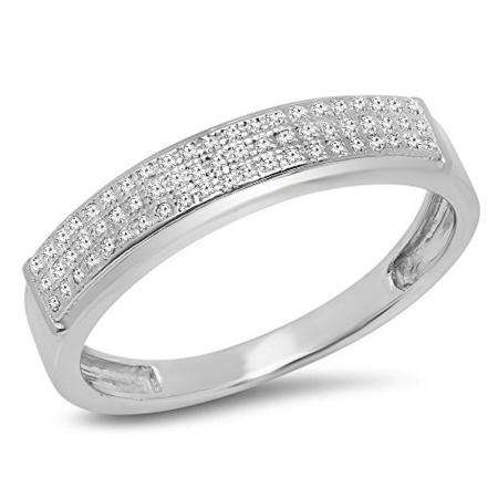 0.14 Carat (ctw) Sterling Silver Round White Diamond Men