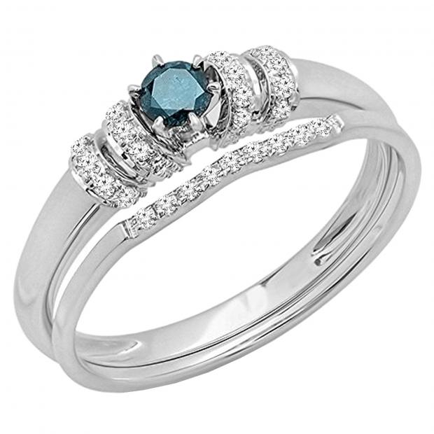 0.30 Carat (cttw) Round Blue and White Diamond Ladies Bridal Engagement Ring Set 1/3 CT,  18K White Gold