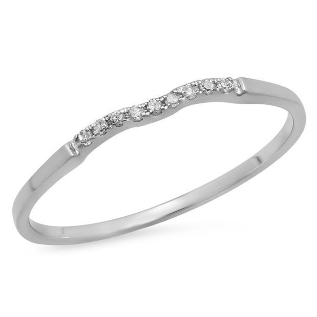 0.05 Carat (ctw) 10K White Gold Round White Diamond Ladies Bridal Anniversary Ring Wedding Guard Band