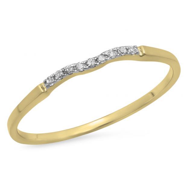 0.05 Carat (ctw) 10K Yellow Gold Round White Diamond Ladies Bridal Anniversary Ring Wedding Guard Band