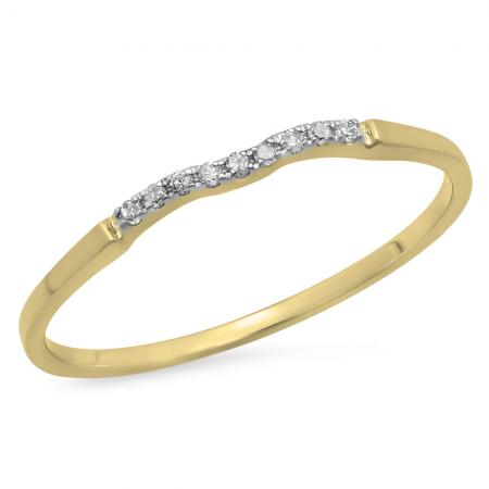 0.05 Carat (ctw) 14K Yellow Gold Round White Diamond Ladies Bridal Anniversary Ring Wedding Guard Band