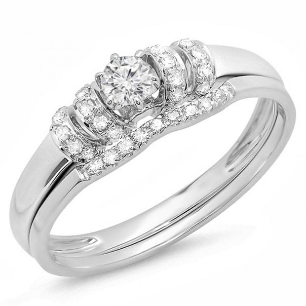 0.30 Carat (ctw) 14k White Gold Round White Diamond Ladies Bridal Engagement Ring Set 1/3 CT
