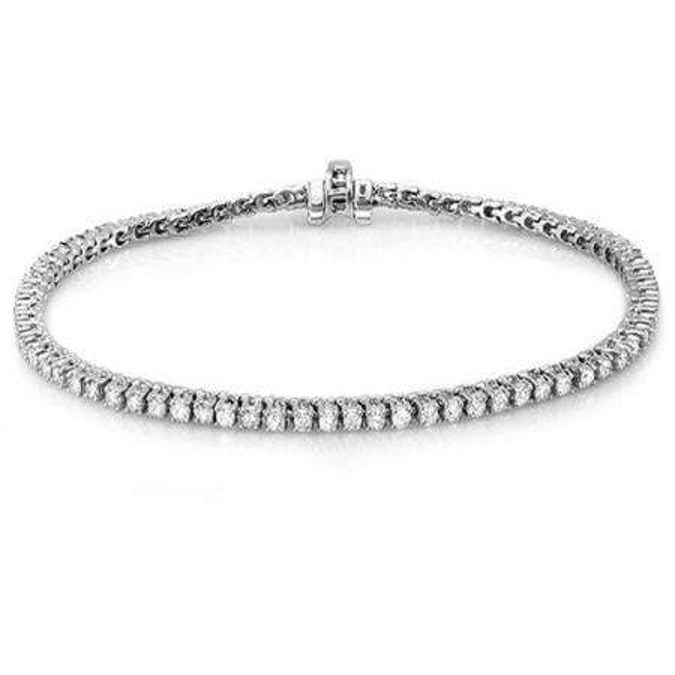 3.00 Carat (ctw) 10K White Gold Round Cut Real Diamond Ladies Tennis Bracelet 3 CT