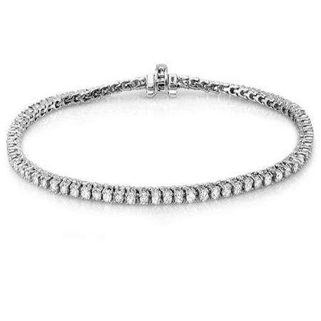 5.00 Carat (ctw) 10K White Gold Round Cut Real Diamond Ladies Tennis Bracelet 5 CT