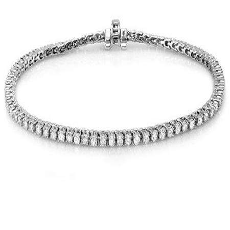 10.00 Carat (ctw) 18K White Gold Round Cut Real Diamond Ladies Tennis Bracelet 10 CT